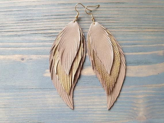 Statement Earrings, Leather Feather Earrings, Oversize Earrings, Layered Leather Earrings, Large Lightweight Earrings, Bohemian Earrings