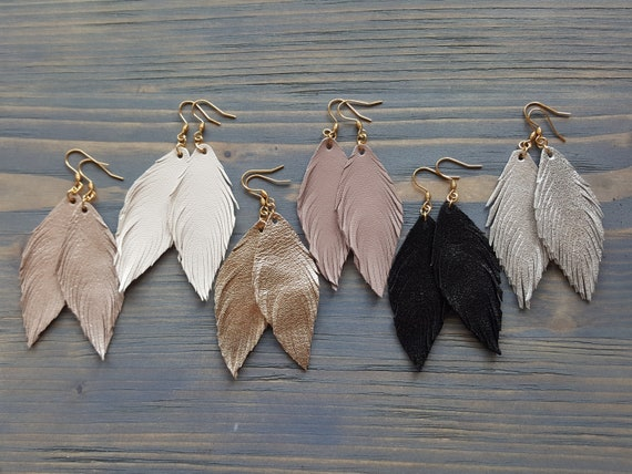 Leather Feather Earrings, Genuine Leather Earrings, Leather Earrings, Boho Earrings, Bohemian Earrings, Choose Your Size, Boho Chic Earrings