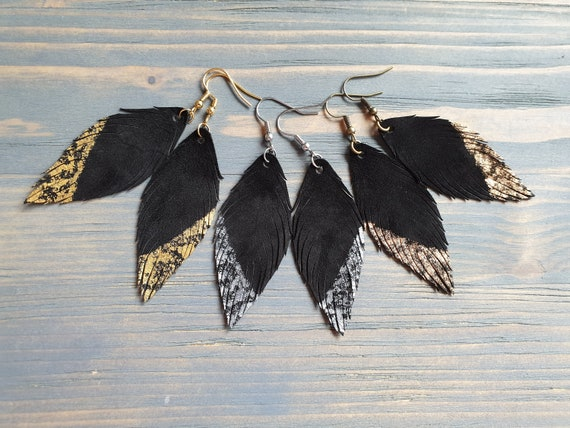Handmade Earrings. Genuine Leather Earrings. Feather Earrings. Lightweight Earrings. Boho Earrings. Leather Feather Earrings. Boho Jewelry