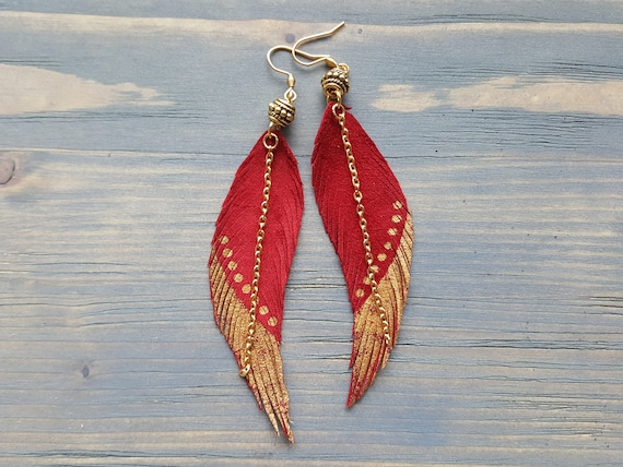 Red Leather Earrings. Red Feather Earrings. Leather Feather Earrings. Bohemian Earrings. Boho Earrings. Long Feather Earrings. Boho Jewelry.