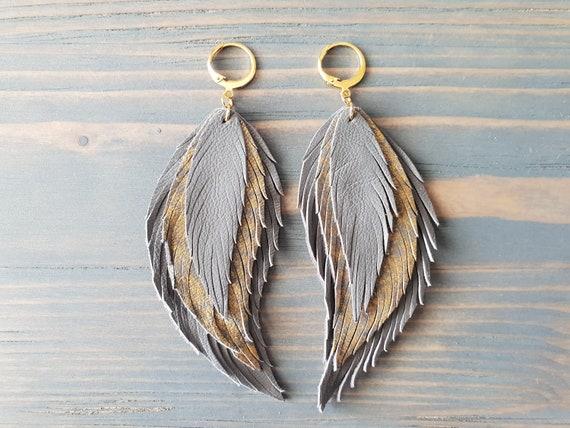 Grey Earrings. Leather Feather Earrings. Grey & Gold Earrings. Bohemian Dangle Earrings. Long Boho Earrings. Bohemian Leather Jewelry.