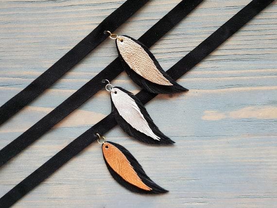 Black Leather Choker, Bohemian Jewelry, Boho Choker, Suede Choker Necklace, Leather Feather Choker, Boho Jewelry, Genuine Leather Choker.