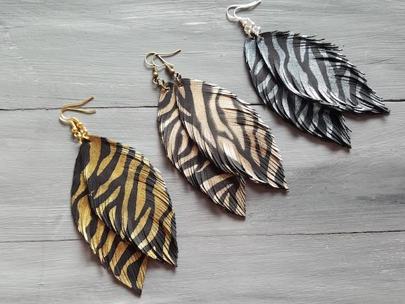Exotic feather earrings. Leather feather earrings. Large feather earrings. Boho earrings. Animal print earrings. Bohemian earrings. Safari.