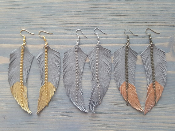 Large Boho Earrings Leather Feather Earrings Long Bohemian Earrings Grey Leather Earrings Statement Boho Jewelry Lightweight Earrings