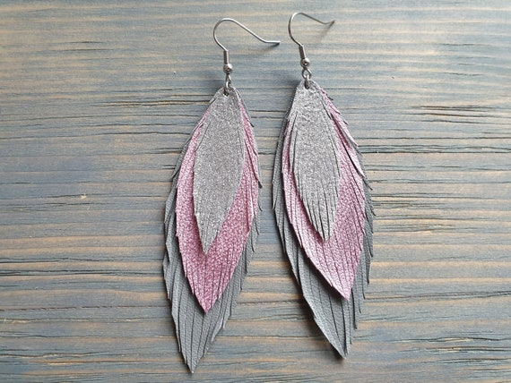 Grey Pink Silver Leather Earrings, Statement Earrings, Leather Feather Earrings, Bohemian Earrings, Layered Earrings, Boho Jewelry