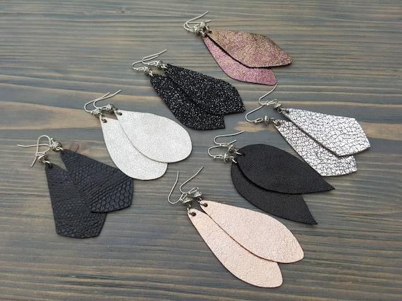 Shiny Earrings, Genuine Leather Earrings, Teardrop Earrings, Leather Jewelry, Lightweight Earrings, Hypoallergenic Hooks, leather Teardrops.