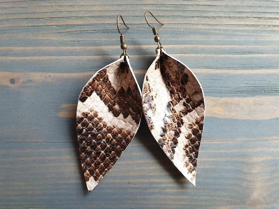 Snake Print Earrings, Leather Leaf Earrings, Genuine Leather Earrings, Large Leaf Earrings, Western Earrings, Boho Earrings, Leather Jewelry