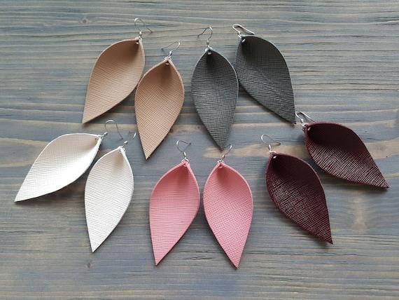 Leather Leaf Earrings. Leather Earrings. Boho Earrings. Rustic Leather Earrings. Bohemian Earrings. Western Earrings. Simple Drop Earrings.