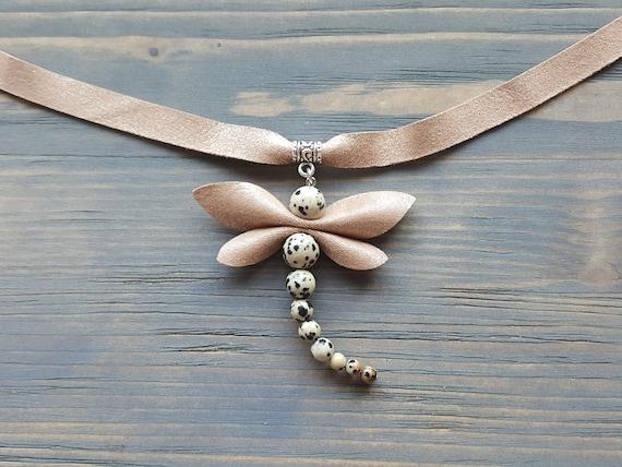 Gemstone Dragonfly Necklace, Pendant Choker Necklace, Dragonfly Jewelry, Beige Leather Choker with Pendant, Statement Jewelry, Boho Choker.