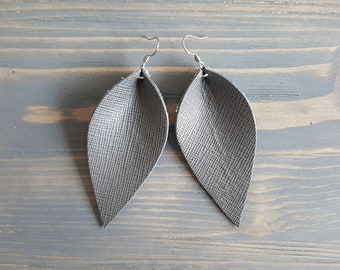 Leather Earrings, Leather Leaf Earrings. Grey Earrings. Grey Leather Earrings. Rustic Earrings. Large Earrings. Boho Earrings