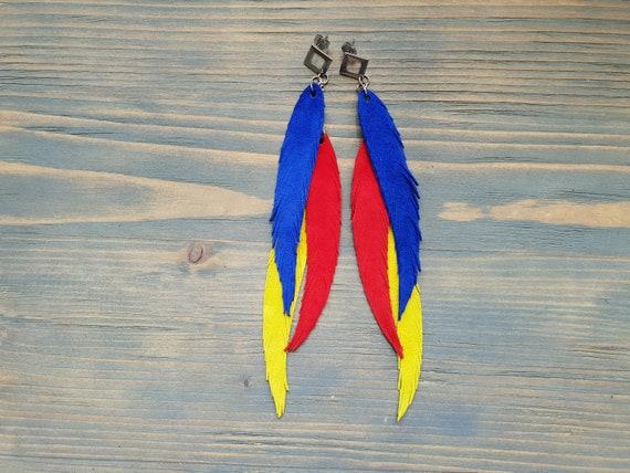 Bright Feathers, Leather Feather Earrings, Extra Long Earrings, Leather Earrings, Hippie Earrings, Bright Boho Earrings, Festival Earrings