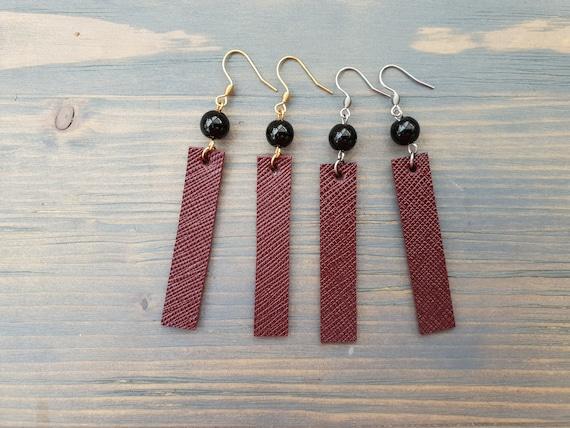 Burgundy Red Earrings, Leather Earrings, Minimalist Earrings, Simple Earrings, Simple Leather Earrings, Bar Earrings, Black Agate Earrings