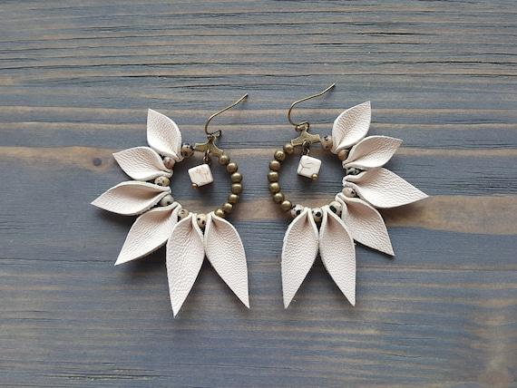 Leather Fringe Earrings, Bohemian Hoop Earrings, Boho Earrings, Leather Earrings, Statement Earrings, Statement Jewelry, Boho Jewelry.
