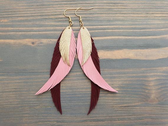 Long Statement Earrings, Leather Feather Earrings, Boho Earrings, Bohemian Earrings, Leather Earrings, Long Earrings, Boho Jewelry