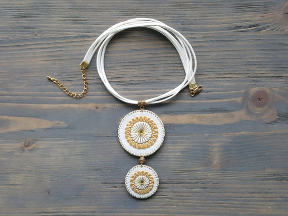 White Leather Pendant Necklace, Large Statement Necklace, Bohemian Necklace, Pendant Choker, Boho Necklace, Embroidered Mandala Necklace.