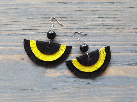 Black and Yellow Leather Earrings, Leather Fringe Earrings, Fringe Boho Earrings, Statement Earrings, Statement Jewelry, Bohemian Earrings