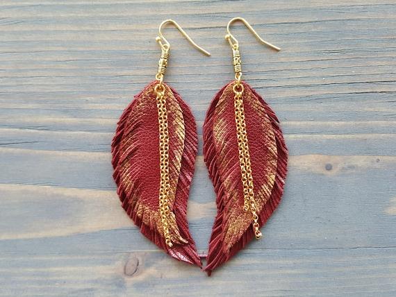 Long Statement Earrings. Red Leather Earrings. Big Statement Earrings. Leather Feather Earrings. Bohemian Leather Earrings. Boho Earrings.