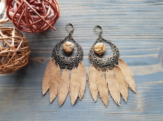 Large Statement Earrings, Bohemian Earrings, Boho Jewelry, Boho Earrings, Leather Earrings, Feather Earrings, Chandelier Earrings Bronze