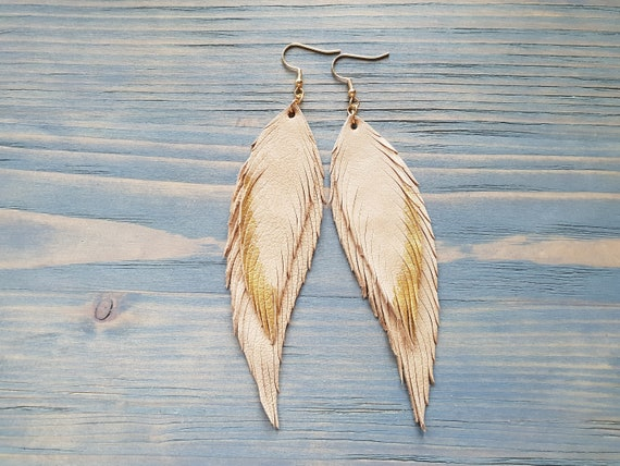 Handmade Leather Earrings, Long Feather Earrings, Leather Feather Earrings, Boho Earrings, Statement Earrings, Bohemian Earrings, Boho Chic
