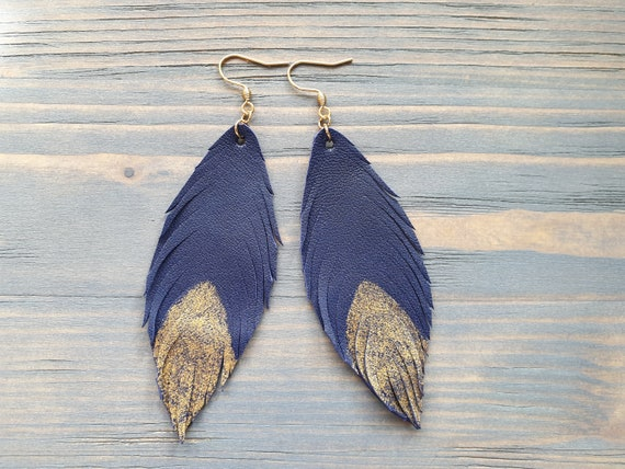 Leather Feather Earrings, Navy Blue Earrings, Leather Earrings, Boho Earrings, Bohemian Earrings, Long Dangle Earrings Boho Jewelry Handmade