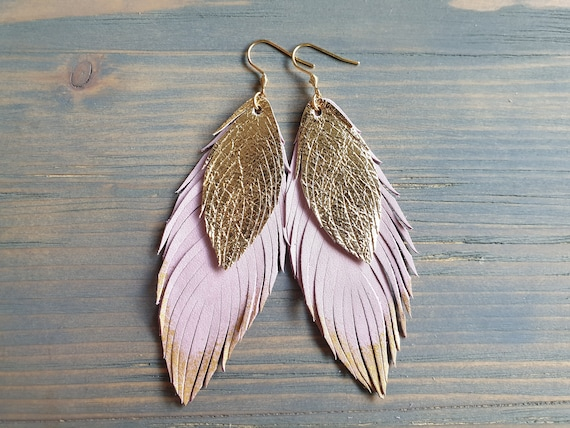 Leather Feather Earrings, Pink and Gold Leather Earrings, Statement Earrings, Bohemian Earrings, Big Earrings, Lightweight Earrings