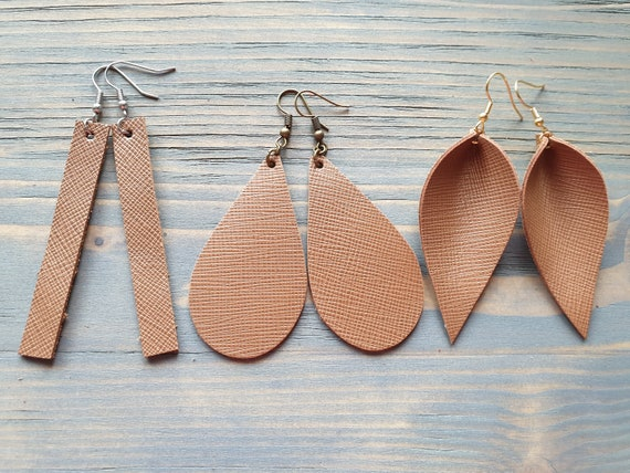 Leather Bar Earrings, Leather Teardrop Earrings, Leather Leaf Earrings, Brown Earrings, Brown Leather Earrings, Minimalist Earrings Boho
