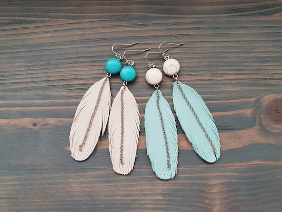 Feather Earrings, Leather Earrings, Leather Feather Earrings, Boho Earrings, Turquoise Earrings, Dangle earrings, Boho Jewelry
