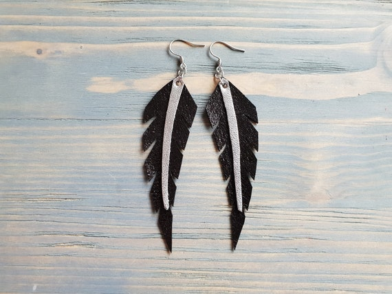Black Feather Earrings, Leather Earrings, Black Leather Earrings, Leather Feather Earrings, Boho Earrings, Boho Jewelry, Thin Feathers