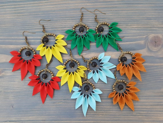 Bright Bohemian Earrings, Boho Hoop Earrings, Statement Earrings, Leather Earrings, Boho Jewelry, Statement Jewelry, Bohemian Jewelry.