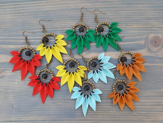 Bright Bohemian Earrings, Boho Hoop Earrings, Statement Earrings, Leather Earrings, Boho Jewelry, Statement Jewelry, Bohemian Jewelry.