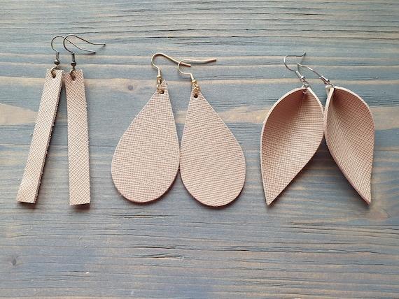Light Brown Earrings, Leather Earrings, Leather Bar Earrings, Leather Teardrop Earrings, Leather Leaf Earrings, Simple Minimalist Earrings