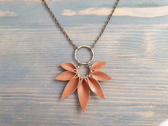 Leather Necklace, Bronze Chain Necklace, Statement Necklace, Boho Necklace, Bohemian Necklace, Boho Jewelry, Leather Pendant Necklace