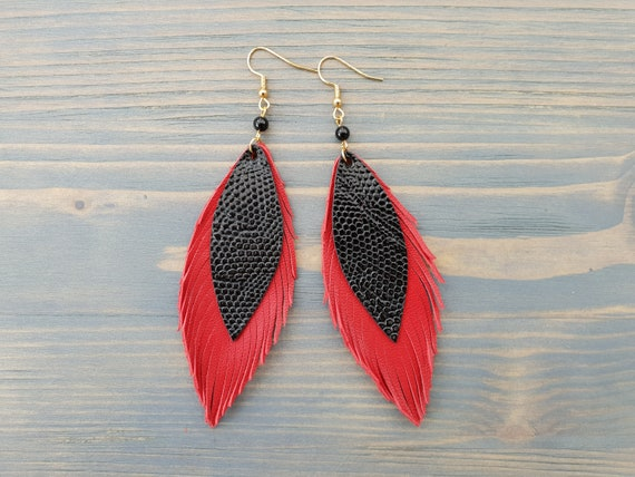 Red Leather Earrings, Red Feather Earrings, Red Earrings, Leather Feather Earrings, Dangle Earrings, Long Earrings, Statement Earrings