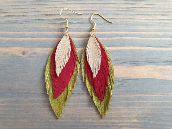 Leather Earrings, Green Red Gold Dangle Earrings, Layered Leather Earrings, Leather Feather Earrings, Statement Earrings, Boho Jewelry