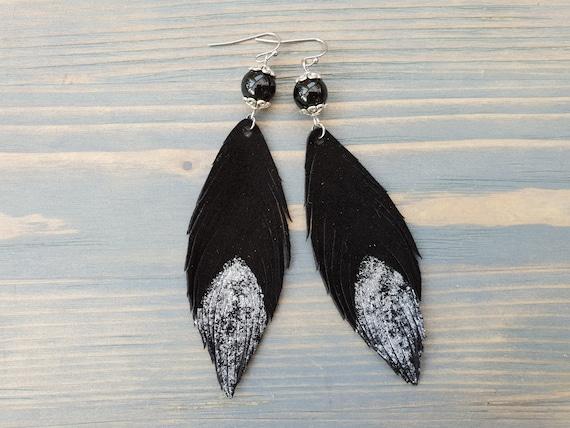 Black Leather Feather Earrings. Black Onyx Earrings. Bohemian Dangle Earrings. Silver and Black Earrings. Long Leather Earrings. Boho Chic.