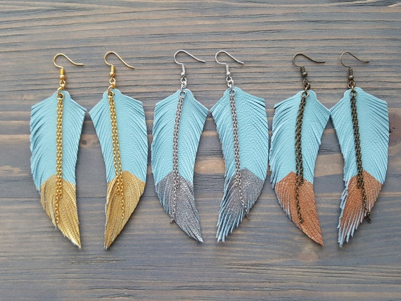 Lightweight Large Earrings Leather Feather Earrings Bohemian Leather Earrings Long Boho Earrings Feather Earrings Boho Jewelry.