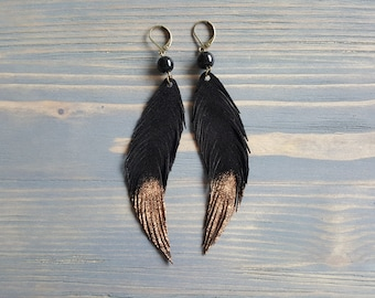 Black Onyx Earrings. Long Dangle Earrings. Black Leather Earrings. Leather Feather Earrings. Statement Earrings Handmade Bohemian Earrings.