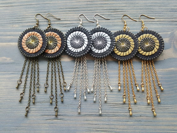 Long Statement Earrings, Bohemian Circle Earrings. Leather Earrings, Boho Earrings, Long Chain Earrings. Chain Tassel Earrings.