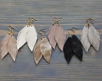 Handmade Earrings. Genuine Leather Earrings. Feather Earrings. Lightweight Earrings. Simple Earrings. Leather Feather Earrings. Boho Jewelry
