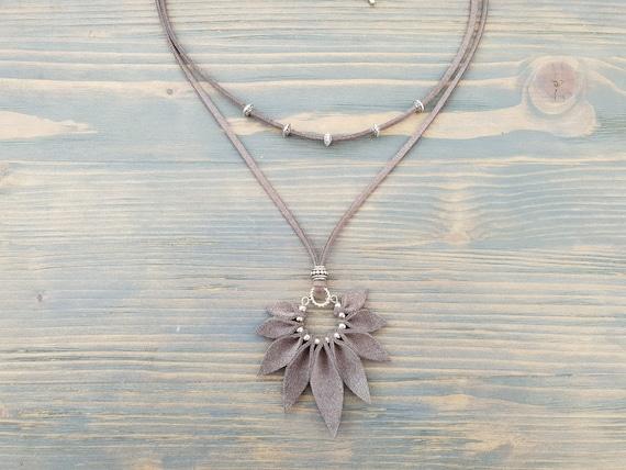 Grey necklace, Leather necklace, Grey leather necklace, Boho necklace, Boho jewelry, Grey jewelry, Leather jewelry, Large pendant necklace