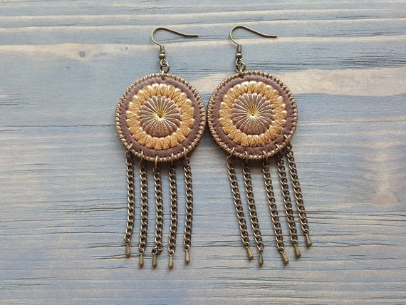 Long dangle earrings. Boho earrings. Bohemian earrings. Tribal earrings. Hippie earrings. Mandala earrings. Leather earrings Fringe earrings