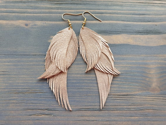 Shiny Leather Earrings, Leather Feather earrings, Statement Earrings, Boho Earrings, Bohemian Earrings, Boho Jewelry, Leather Jewelry
