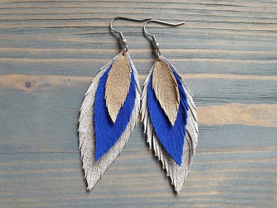 Silver Blue Gold Leather Earrings, Statement Earrings, Leather Feather Earrings, Layered Leather Earrings, Boho Earrings, Bohemian Jewelry