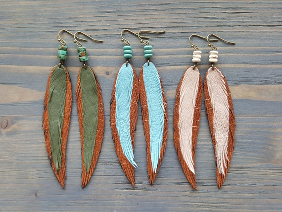 Long thin earrings Leather feather earrings Thin feather earrings Metallic bronze leather earrings Boho earrings Bohemian dangle earrings