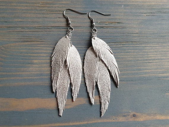 Leather Feather Earrings, Layered Leather Earrings, Silver Feather Earrings, Dangle Earrings, Boho Earrings, Statement Earrings