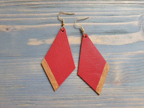 Leather Earrings, Red Earrings, Red Leather Earrings, Statement Earrings, Large Leather Earrings, Statement Jewelry, Leather Jewelry