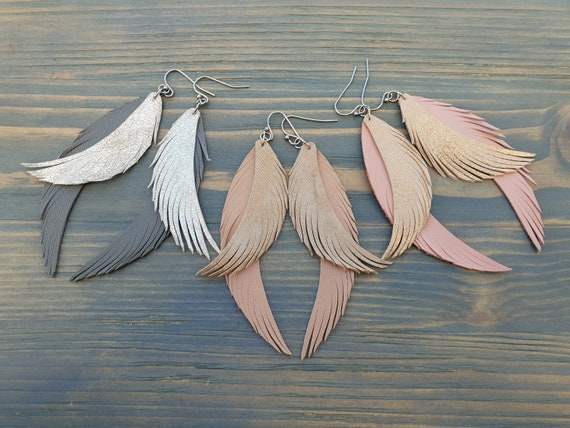 Layered Feather Earrings, Feather Leather Earrings, Boho Earrings, Christmas Gift For Her, Xmas Gift For Her, Shiny Earrings Lightweight
