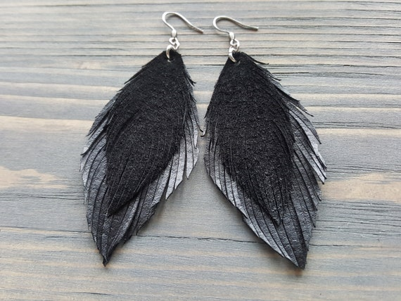 Black Feather Earrings. Genuine Leather Feather Earrings. Large Boho Earrings. Long Bohemian Earrings. Double Feather Earrings. Boho Jewelry