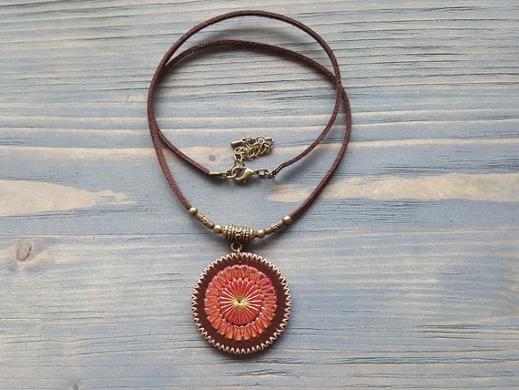 Brown leather necklace. Mandala necklace. Velvet choker. Boho necklace. Hippie necklace. Pendant necklace. Leather choker. Boho choker.