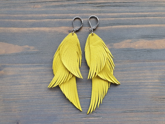 Yellow Earrings, Leather Earrings, Leather Feather Earrings, Yellow Feather Earrings, Statement Earrings, Summer Jewelry, Statement Jewelry.